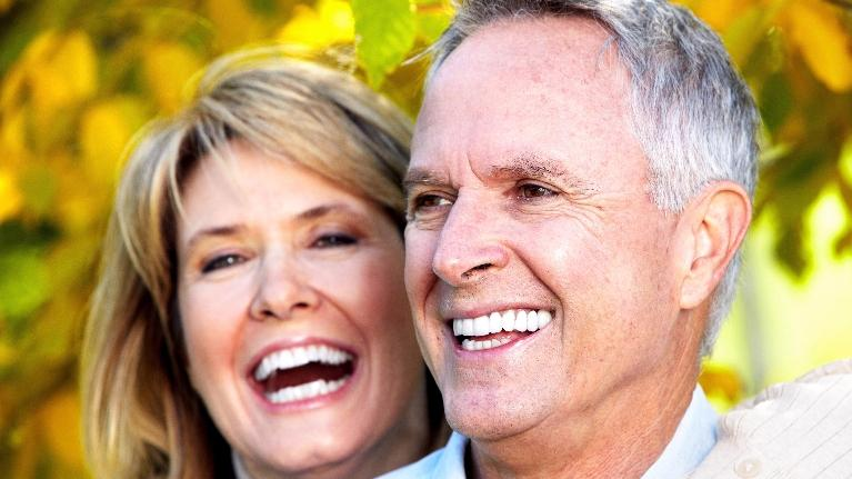 older couple smiling | boise id dentures